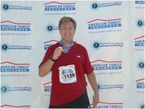 Kevin Desharnais, Chair of OpASHA's U.S. Board, after completing the 2012 North Shore Half Marathon, the first time he ever ran 13.1 miles. Only another 13.1 miles to go!